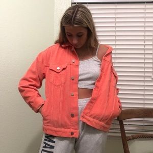 Urban outfitters coral corduroy jacket